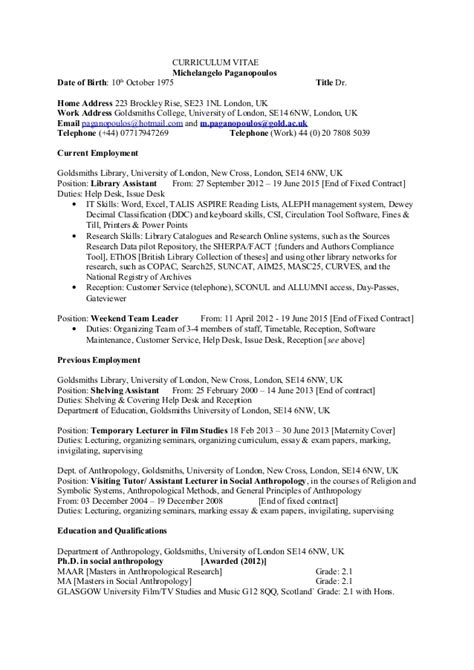 Anthropology Professor Cover Letter by Help With Anthropology Curriculum Vitae