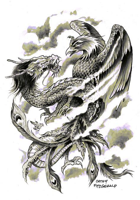 tattoo phoenix and dragon dragon phoenix tattoo art print art print by cathy