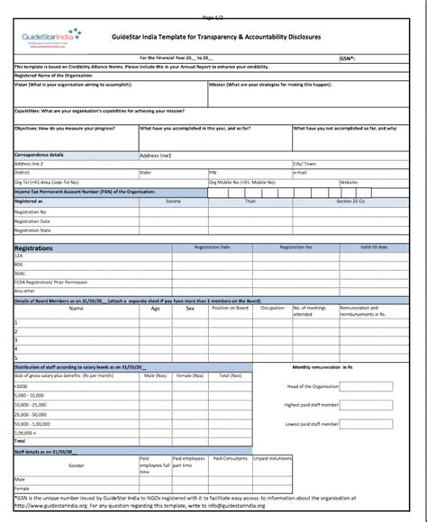 Ngo Financial Report Template the official guidestar india ngo annual reports