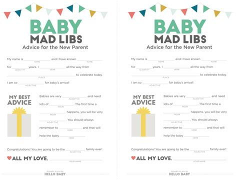 Mad Libs Baby Shower Printable by Baby Shower Printables