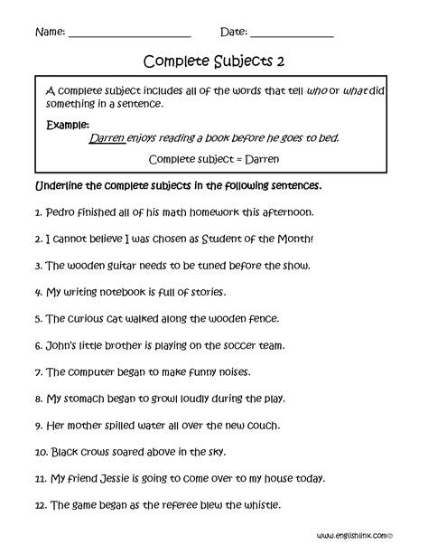 Identify The Subject Of A Sentence Worksheet by Predicate Nominative Worksheets 6th Grade Helping Verbs