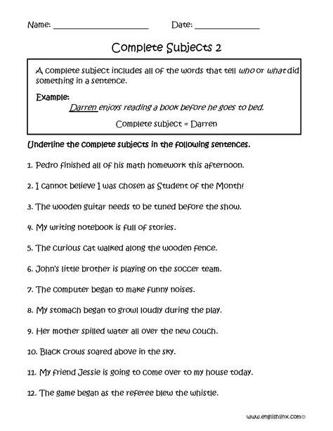 Predicate Nominative Worksheet by Predicate Nominative Worksheets 6th Grade Helping Verbs