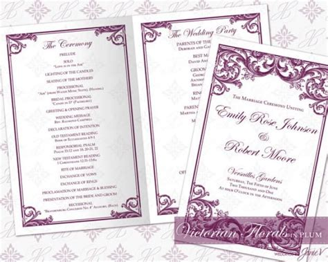 wedding ceremony itinerary template diy printable wedding ceremony program template 2335524