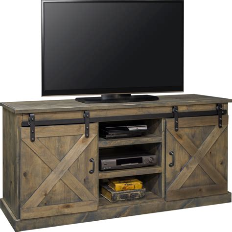 Tv Console Table Legends Furniture Farmhouse 66 Quot Tv Stand Console In Distressed Barnwood W Sliding Barn Doors