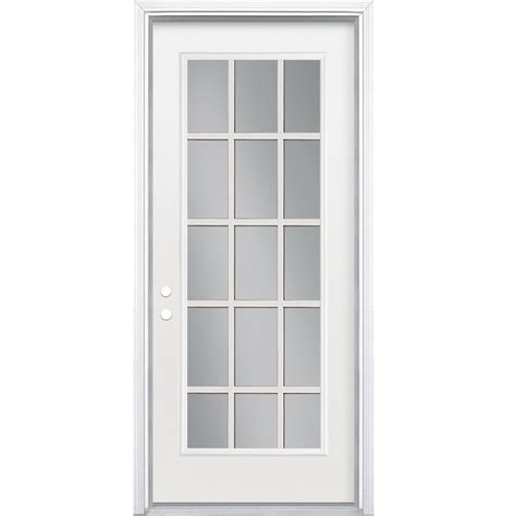 15 Panel Glass Exterior Door Shop Masonite Flush Insulating 15 Lite Right Inswing Steel Primed Prehung Entry Door
