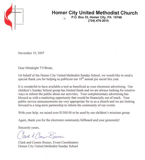 Thank You Letter For Donation To Church Mindsight Llc Community B B Thank You Notes