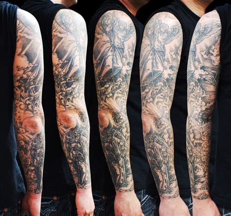 graphic angel and death angel tattoo sleeve best tattoo