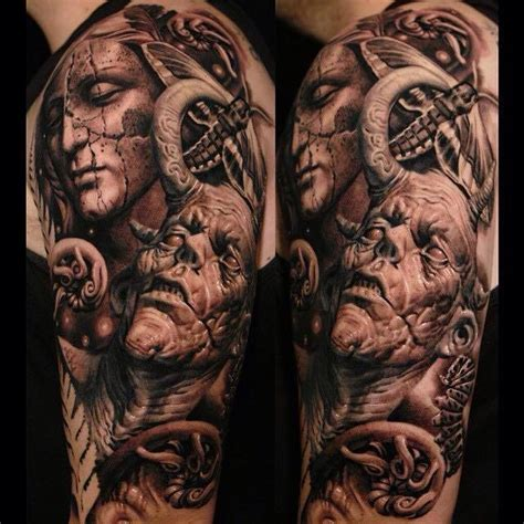 realistic angel demon tattoo by sergio sanchez sick