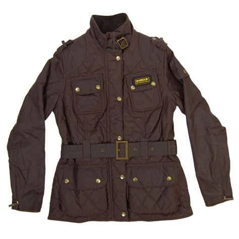 barbour quilted international jacket brown womens