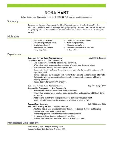 resume header sles customer service representatives sales with green header