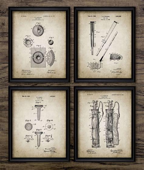 retro golf prints golf decor set of 4 prints golf decor idea vintage golf patent print golf blueprint wall art golf