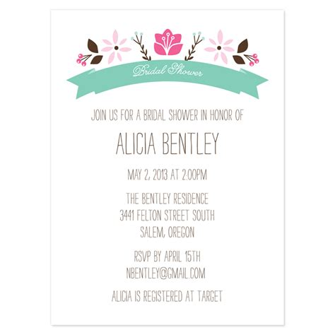 folk floral bridal shower invitation white background with floral decorations black fonts color