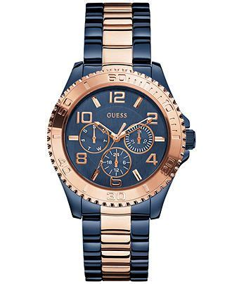 Guess W0041g2 Rosegold Combi 1 guess watches and blue bracelets on