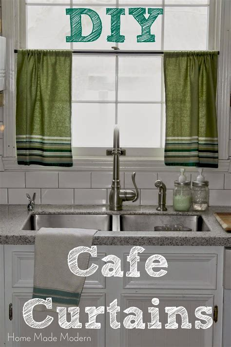 cafe curtains from kitchen towels home made modern