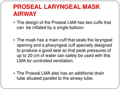 The Proseal Laryngeal Mask Airway A Review Of The Literature by Supra Glottic Airway Children
