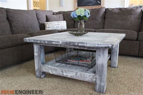 coffee table diy plans square coffee table w planked top free diy plans