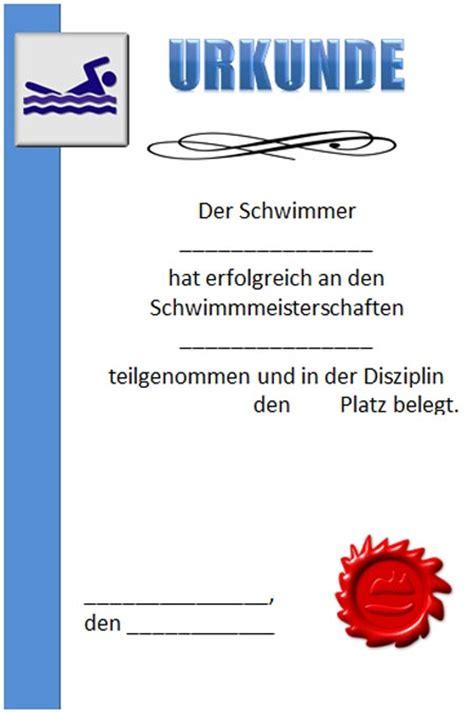 Word Vorlage Urkunde Urkunde Schwimmen Zum Ausdrucken