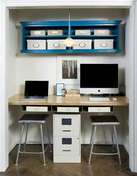 desk inside a closet tiny workspace built inside of a closet 171 pureinfotech