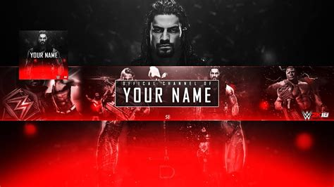 wwe youtube wwe 2k18 channel art logo template psd youtube