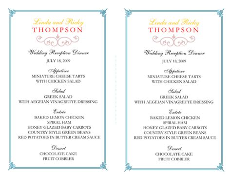 menu card templates for wedding reception wedding menu template 5 free printable menu cards