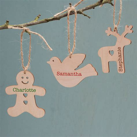 personalised wooden christmas decoration by sparks living
