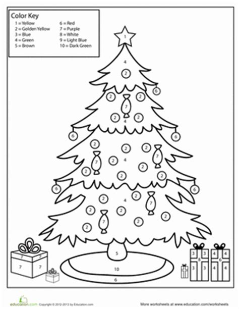 christmas tree color by number worksheets
