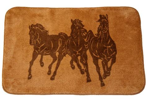 Western Bath Rugs western running horses bathroom rug kitchen rug
