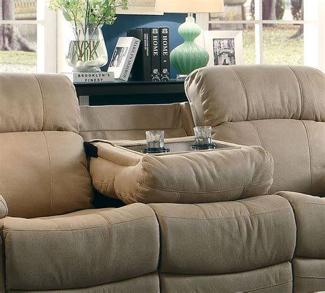 reclining sofa with cup holders marille camel reclining sofa with center drop