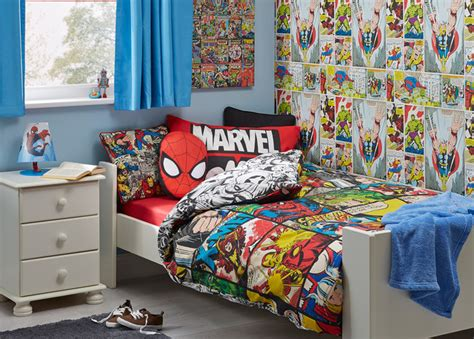 marvel comic themed boys bedroom contemporary