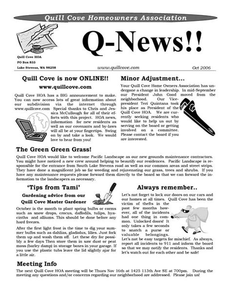 Quill Cove Hoa Home Hoa Community Newsletter Templates