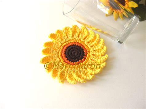 Brighten Your With Colored Coasters by Crochet Sunflower Patterns To Brighten Up Your