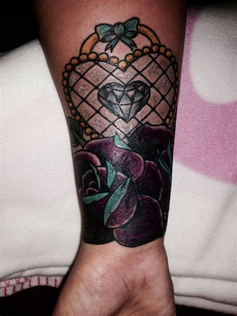 traditional girly cover  tattoo roses heart diamond cute