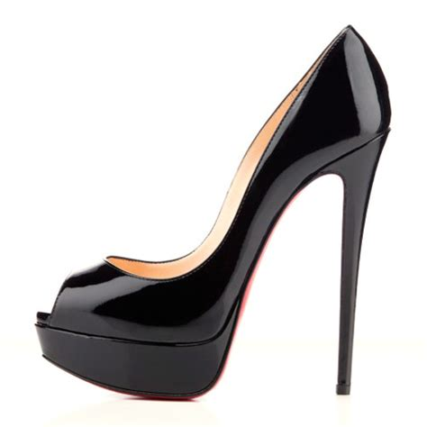 Heels Shoes by Patent Leather Peep Toe Platform Pumps Black High Heel