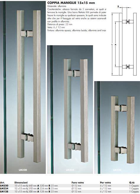 maniglie per porte in vetro maniglia lm 174 alluminio doppia quadra per porte in vetro