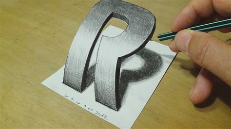 how to draw 3d letter drawing curved letter r trick