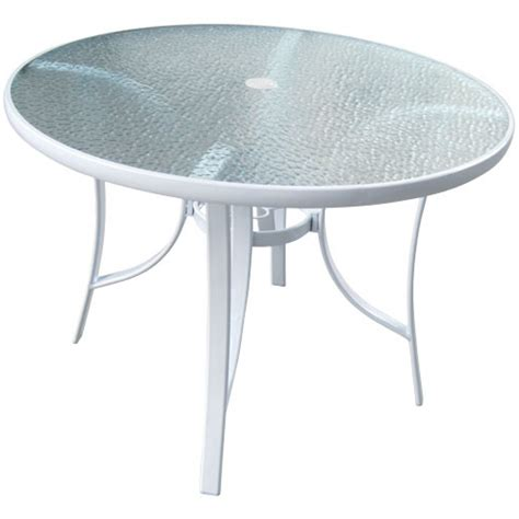 40 Round White Glass Top Patio Table Round Glass Patio