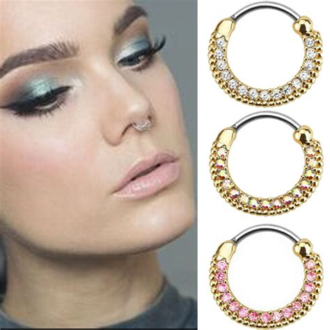 surgical steel titanium silver plated nose ring