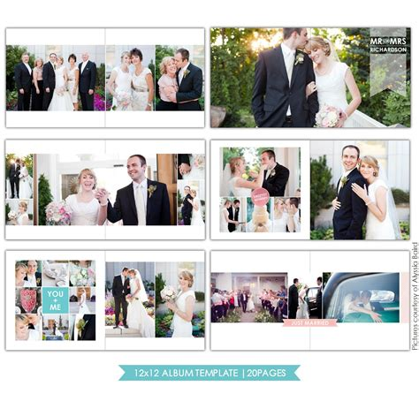 clean style 12x12 wedding album template birdesign