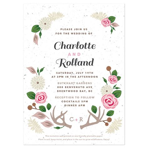 Floral Paper Wedding Invitations by Floral Woodland Plantable Wedding Invitation Plantable