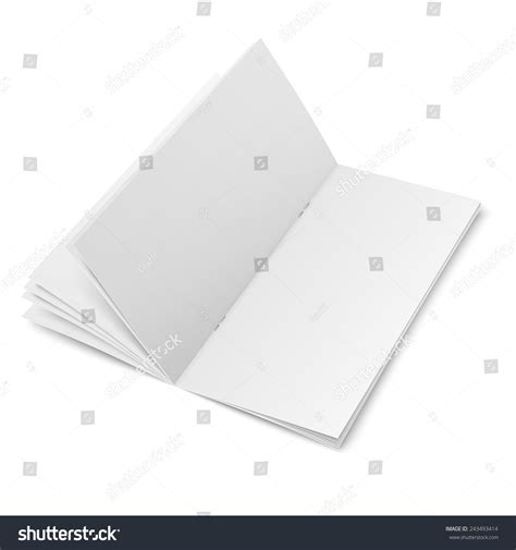 Empty Spreaded Multipage Brochure Template With Clips On White Background Pure Vector Multi Page Brochure Template Free
