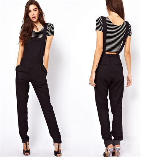 Overall Jumpsuit Overall s fashion black backless jumpsuit suspender trousers overalls pocket ebay