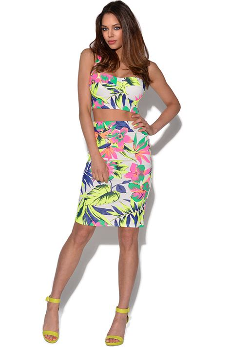 vestry neon floral bralet and pencil skirt set in assorted