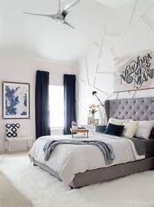 Glam Bedroom Ideas trendy glam bed room with grey tufted headboard lilac gray and blue