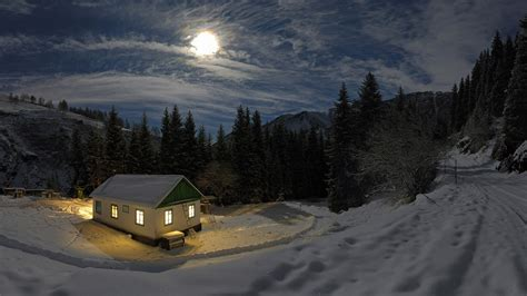 Small Cabin In The Woods by Nature Landscape Night Moon Moonlight Mountain