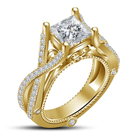 Handmade Gold Engagement Rings - vintage 14k yellow gold finish white cz princes cut