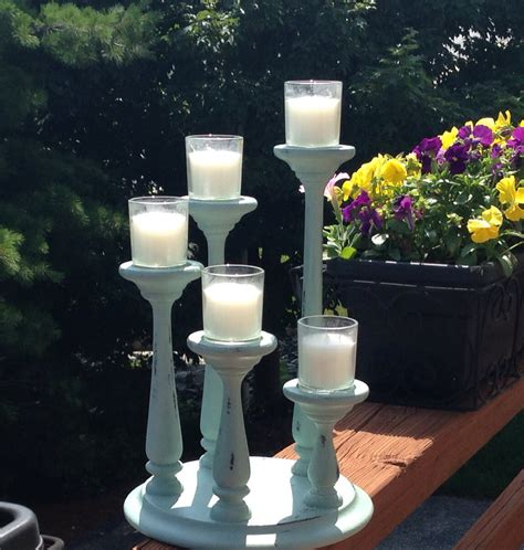 5 Tier Candle Holder Wood 5 Tier Candle Holder In Sloan Duck Egg Blue