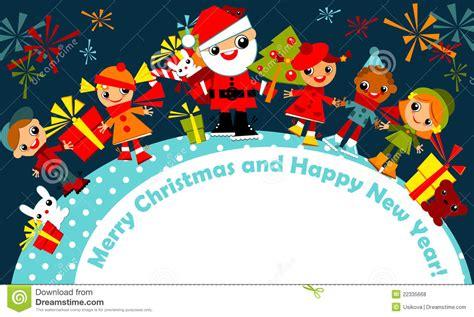 christmas kids greeting card stock vector illustration  circle boys