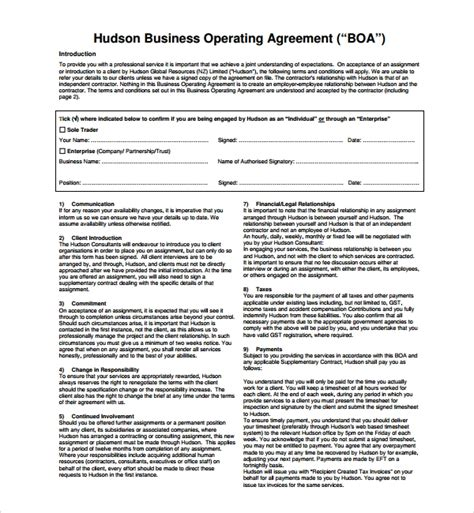 Sle Business Operating Agreement 7 Free Documents Download In Pdf Word Corporation Operating Agreement Template