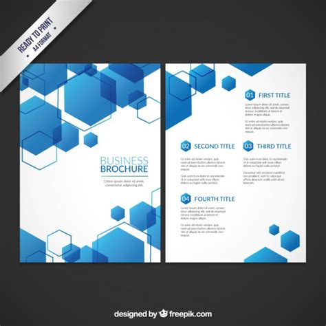 business brochures templates business brochure template with blue hexagons vector