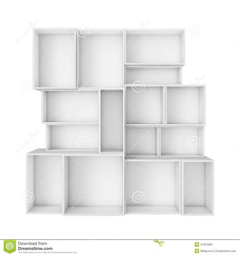 Kitchen Cabinet Boxes Only by Empty Abstract White Shelves Isolated On White Background